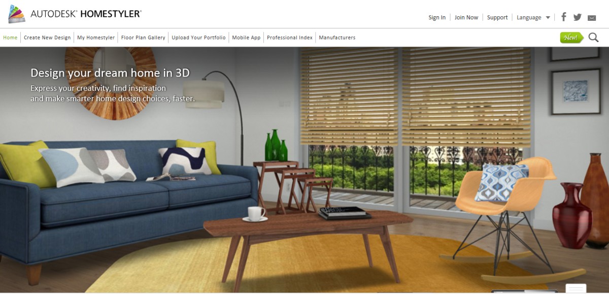 This is the 'home page' design of the Autodesk Homestyler website. This is an amazing room, so dynamic and full of energy! Not only can you design your own rooms, but you can get FANTASTIC ideas from their professional interior designers.