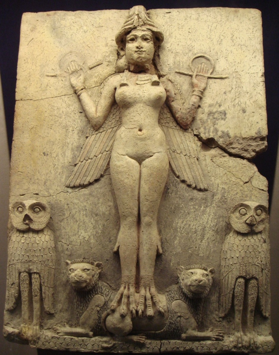 Relief from the Old Babylonian period. The depicted figure could be the goddess Ishtar, Mesopotamian goddess of sexual love and war. But the wings on her feet suggest a connection with Lilith.