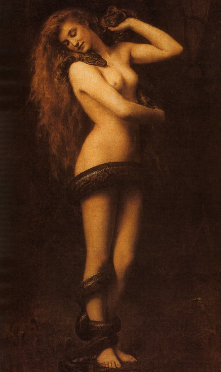 Lilith as the snake who lures Eve to eat the apple