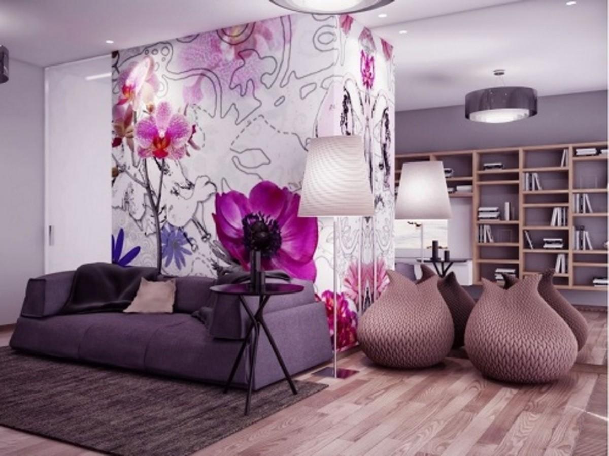Wonderful Purple Living Room with Flower Artwork