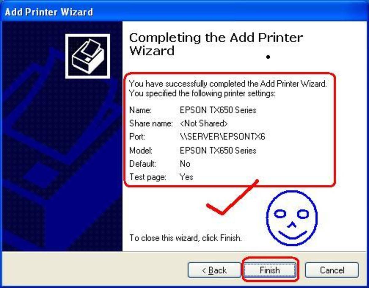 Finish adding the network printer