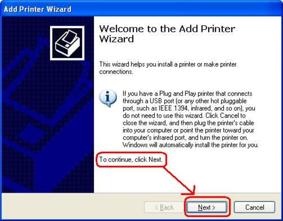 Add printer wizard