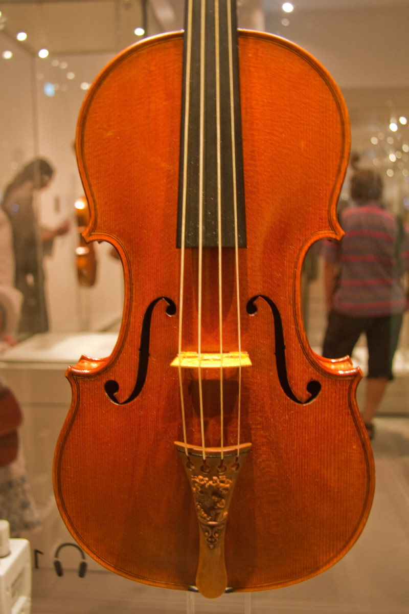 The immaculate Messiah Stradivarius violin of 1716 in the Ashmolean Museum, Oxford, UK.