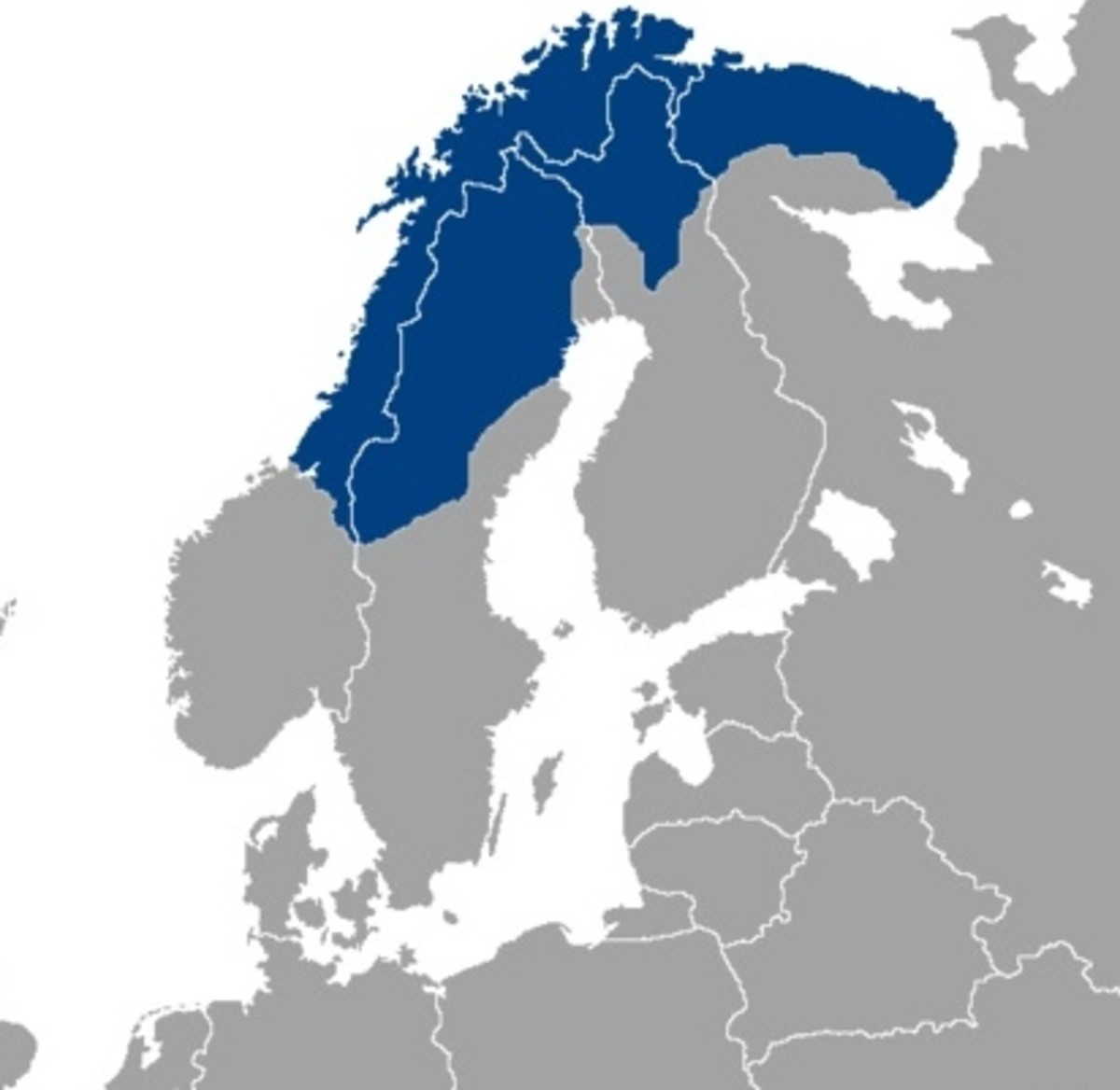 Saami territory spreads from Norway and Sweden to Finland and Russia.