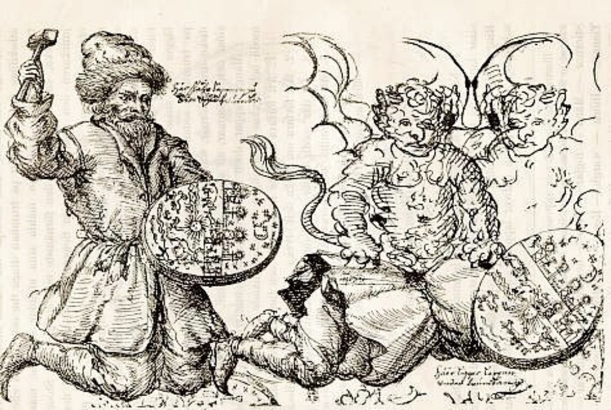 A very old illustration of a Saami shaman drumming himself into a trance.  Note the artist interprets the shaman's spirit journey as demonic. (public domain image)
