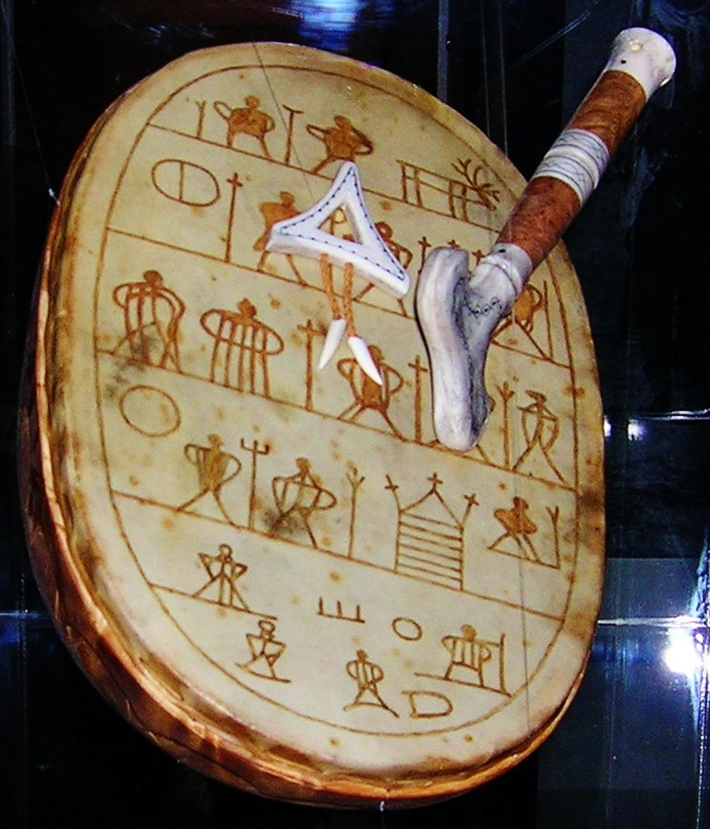Copy of the rune drum belonging to the 100 year old Saami Anders Paulsen. Cultural Department of the Museum in Oslo, Norway. The rune drum was confiscated by the authorities of Vadsø in 1691. Photo by Sandivas.