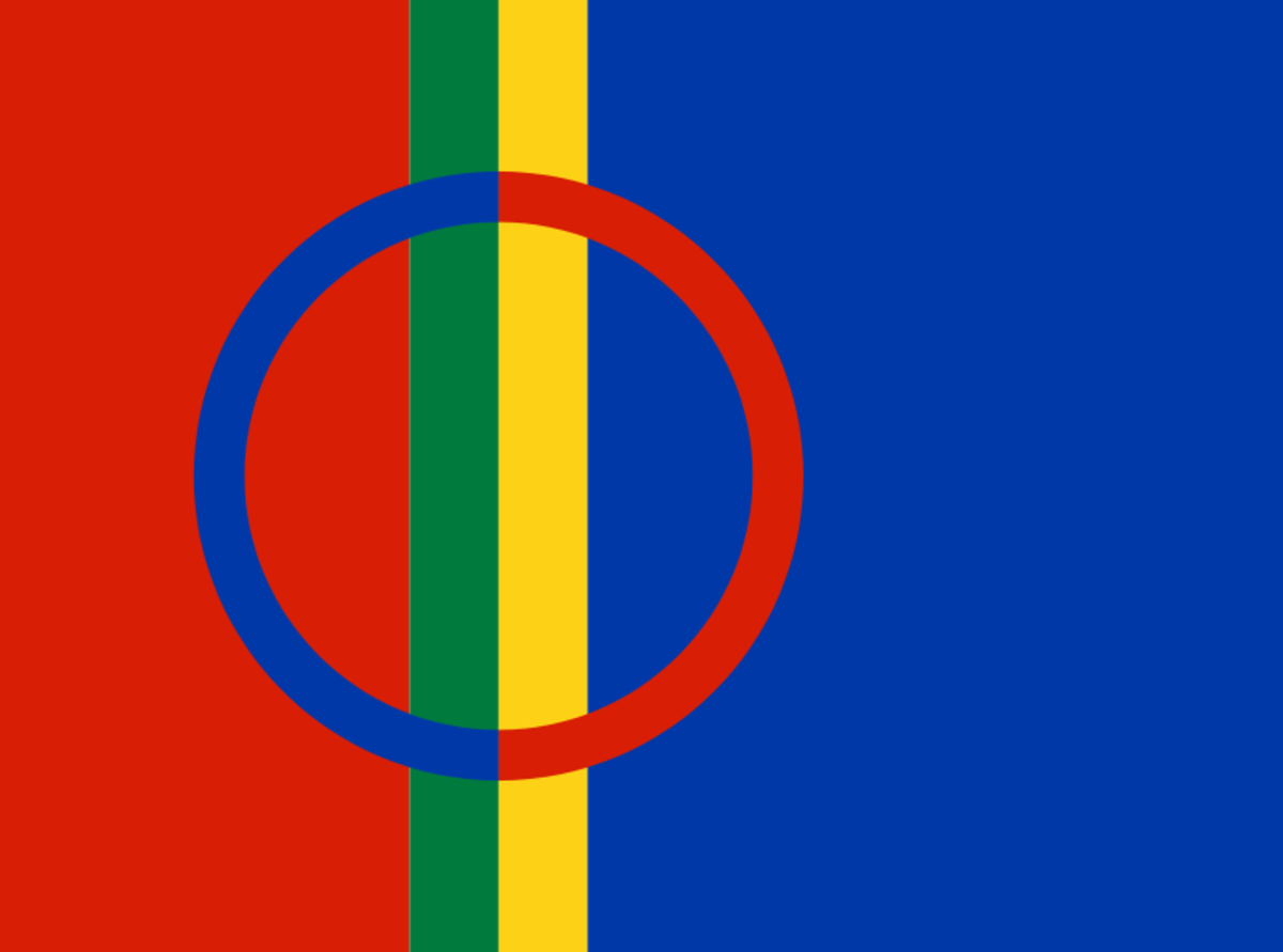 "The flag of the Saami people and of their ""cultural region"" of Sápmi. (public domain image)"