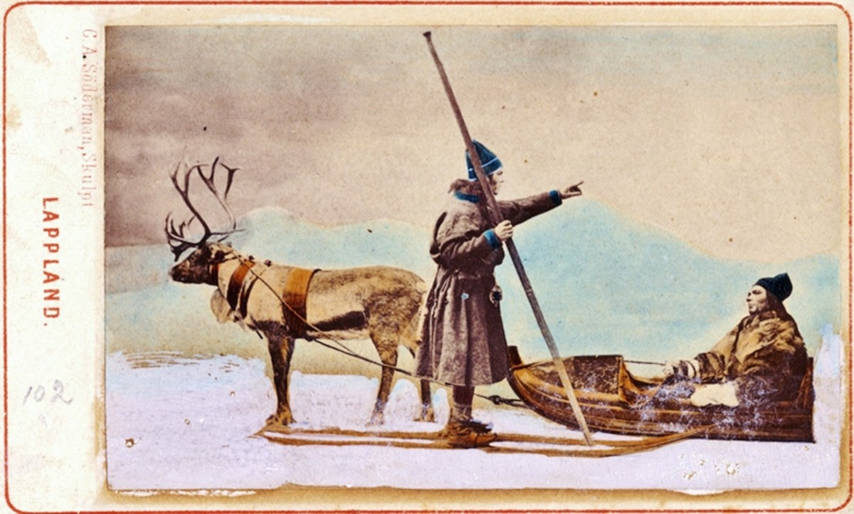 "Vintage postcard from ""Lappland.""  The terms ""Lapp"" and ""Lappland"" are now considered offensive to the Saami people. (public domain image)"