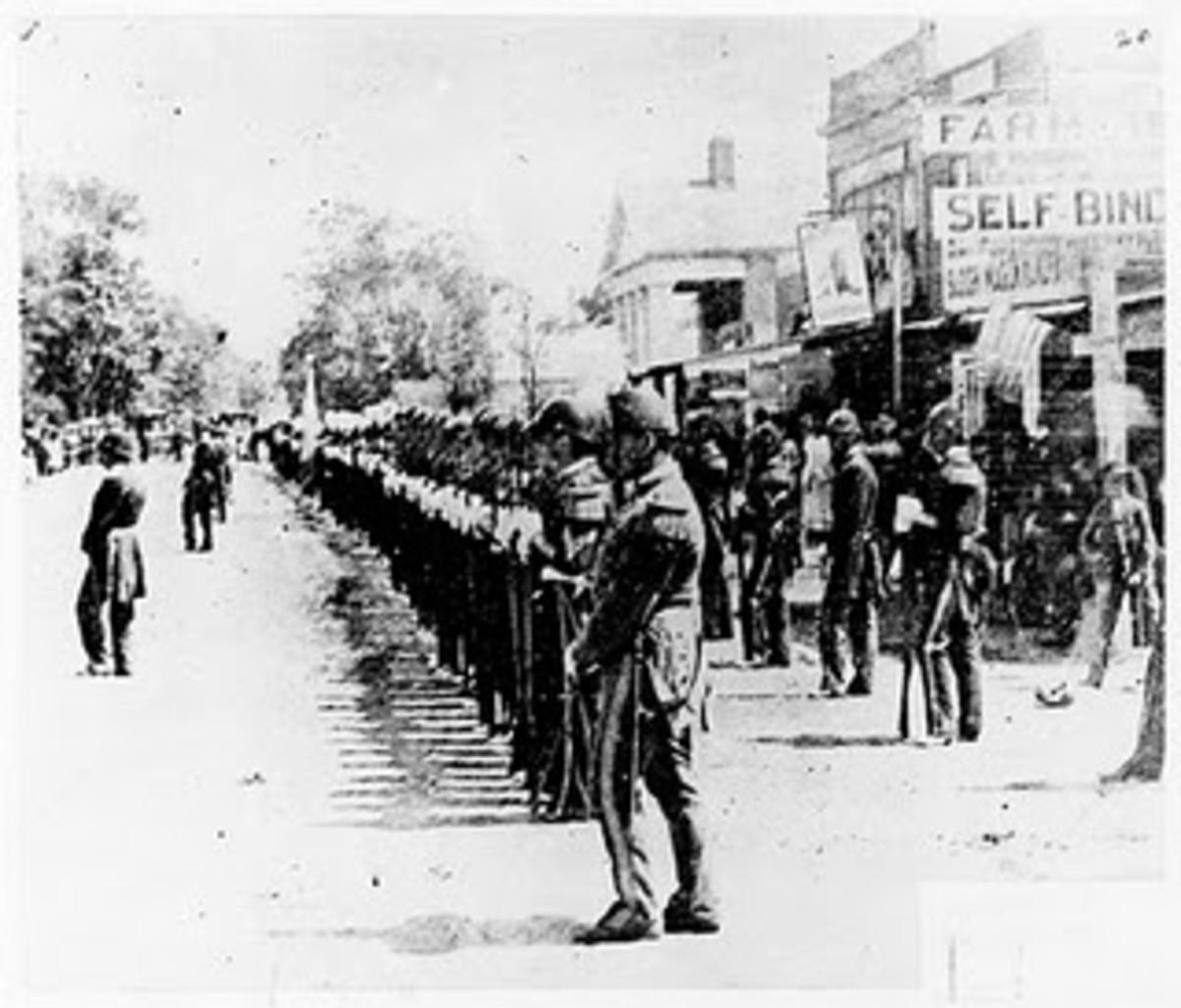 A Volunteer Regiment rests while on parade