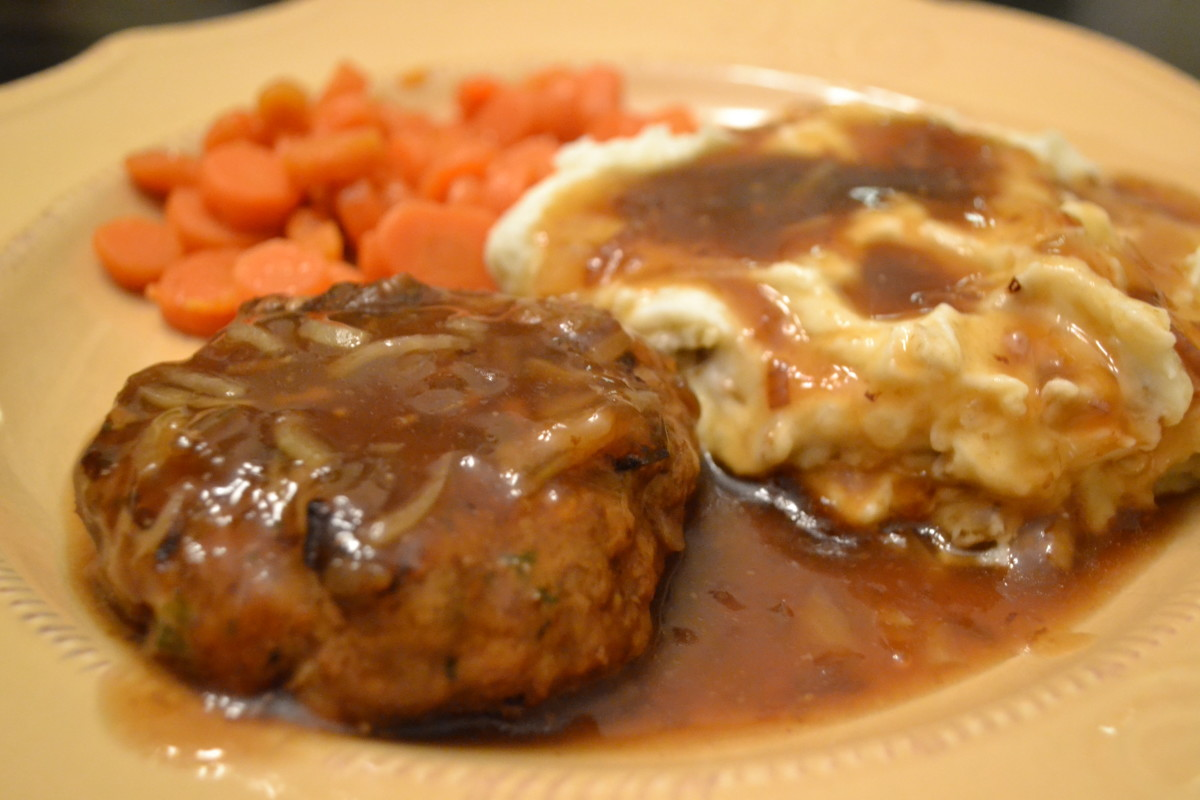 These Salisbury steaks are tender, moist and juicy, especially when smothered and simmered in onion gravy.
