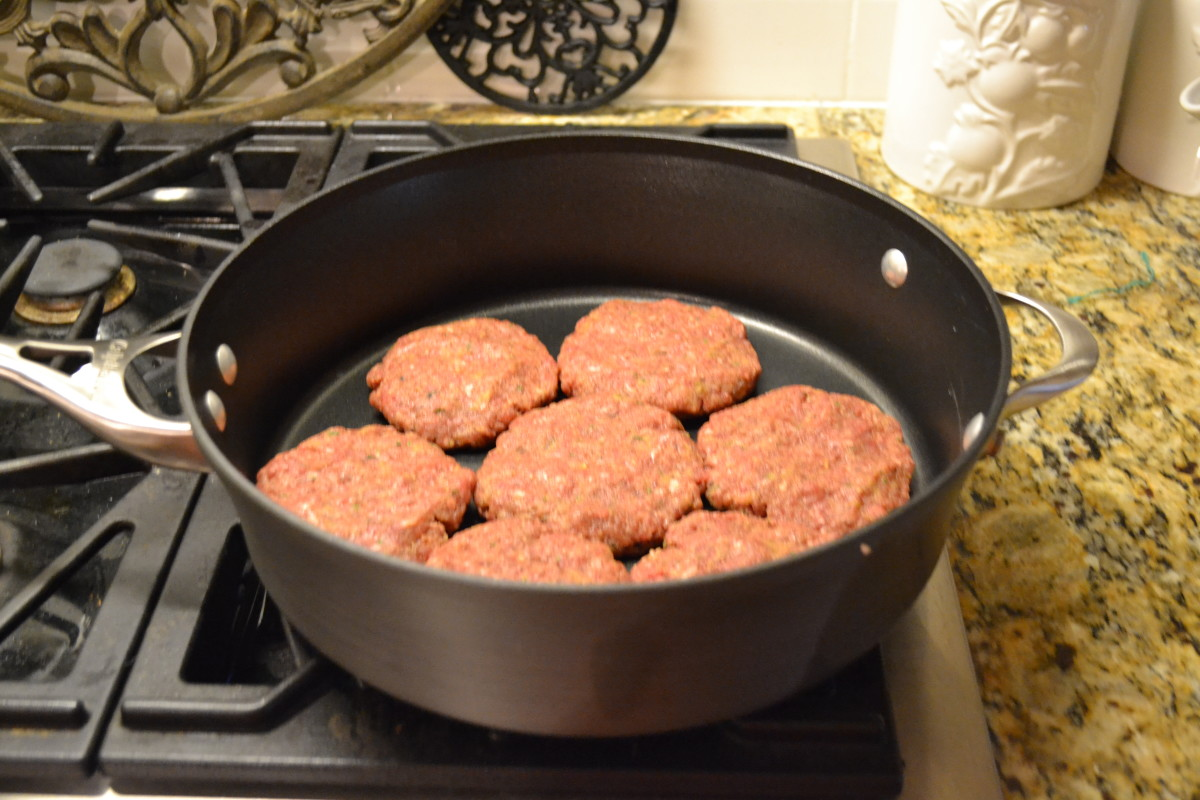Mix meat with breadcrumbs and seasonings, then mold into six or seven equally sized patties.