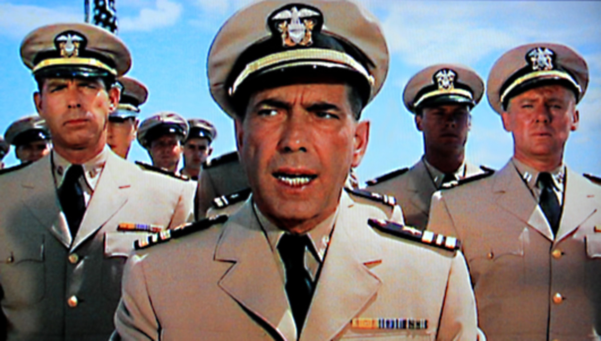 The new Captain of U.S.S Caine, Philip Francis Queeg addresses his crew for the first time