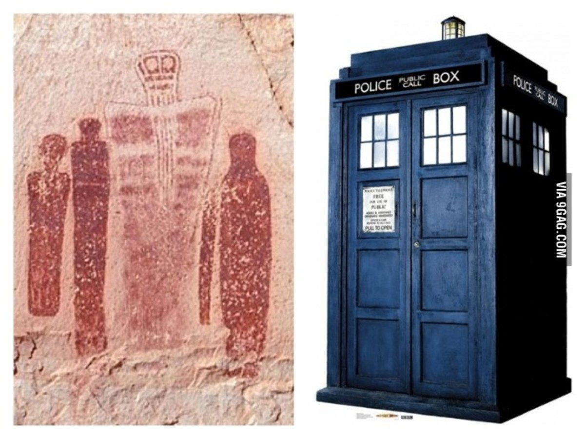 Ancient cave painting showing somethng very similar to the Tardis.