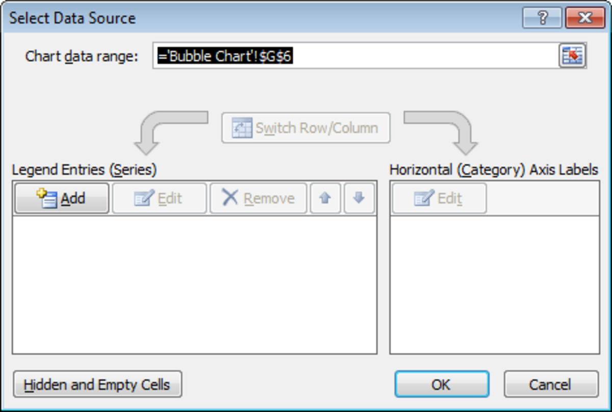 Configuring the data source for our Bubble chart in Excel 2007 or Excel 2010.
