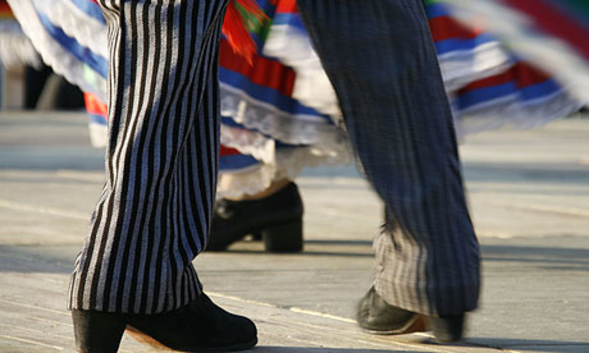 The footwork of the mariachi dancers.