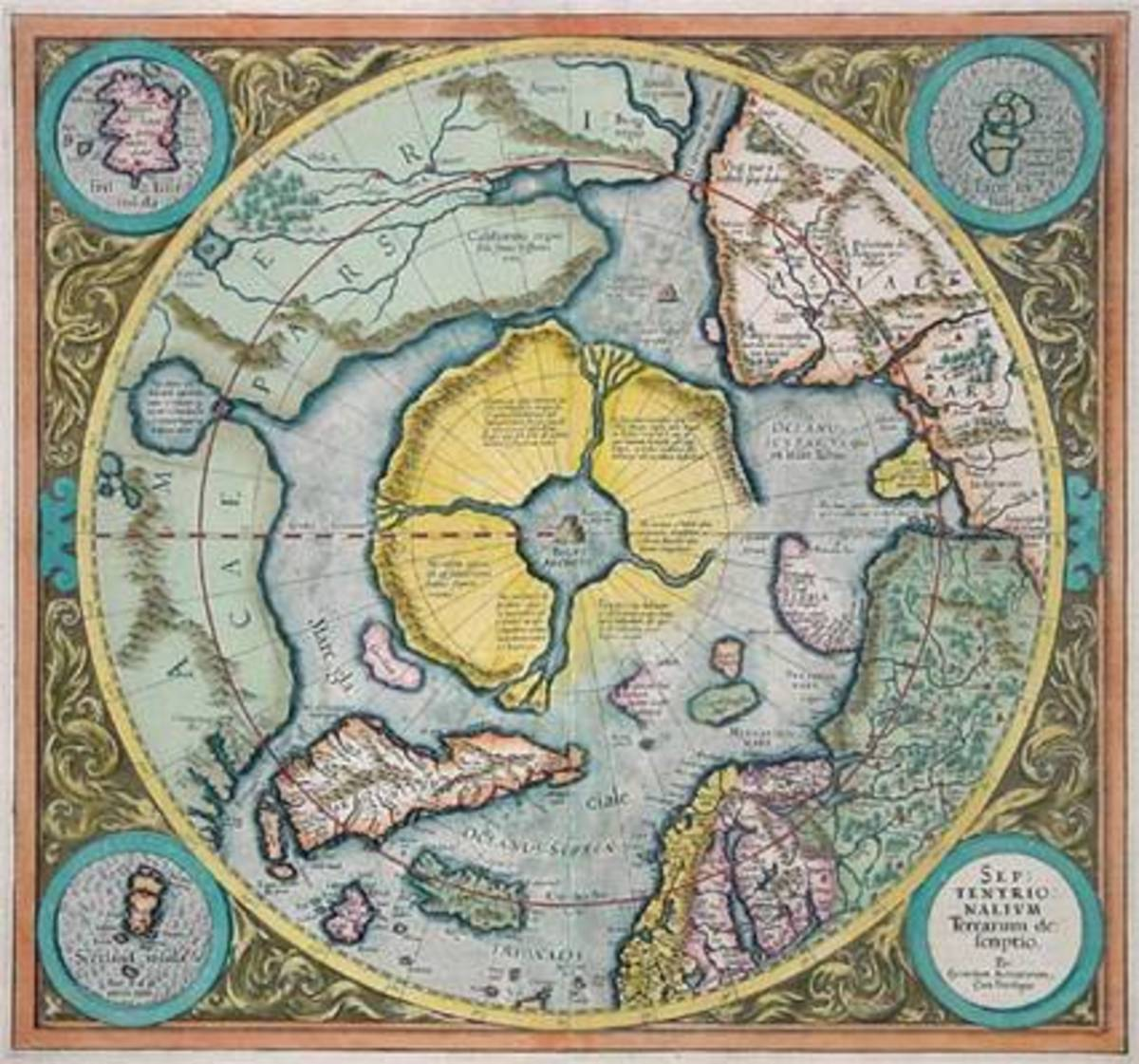 This map shows Agartha in the center with four rivers leading outwards, perhaps the true source of the Garden of Eden.