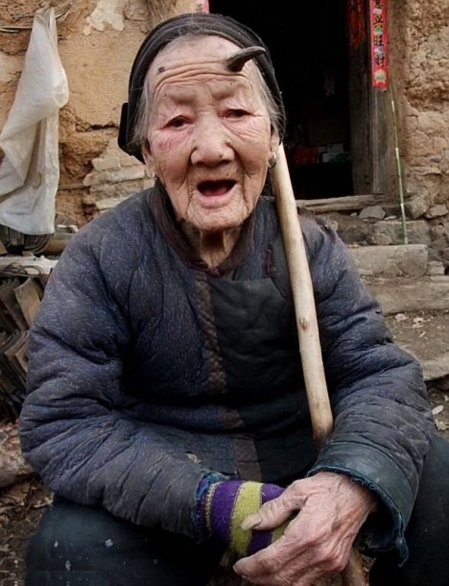 Chinese woman with horn