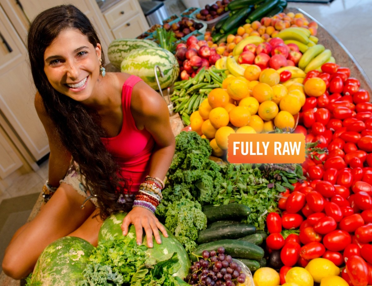 This is a picture of raw foodist Kristina Carrillo-Bucaram on her blog. She has been on a fully raw food diet for 8 years. It is a raw vegan diet.