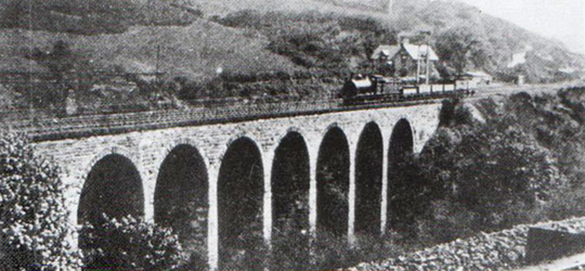 Waterfall Viaduct near Slapewath in the early 20th Century with a mineral train crossing