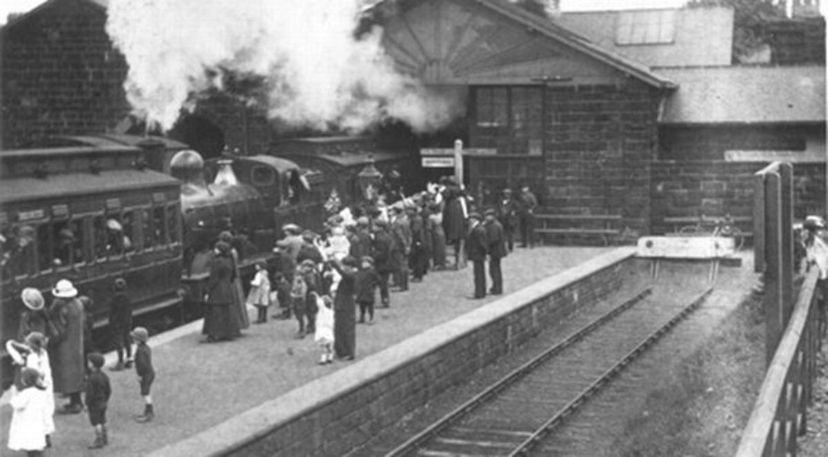 Guisborough Station in 1864. At the platform is a train formation used for many years on this and other regional branches. A Fletcher Bogie Tank Passenger (BTP) engine is sandwiched between two 'porthole'  clerestory passenger brake 3rds