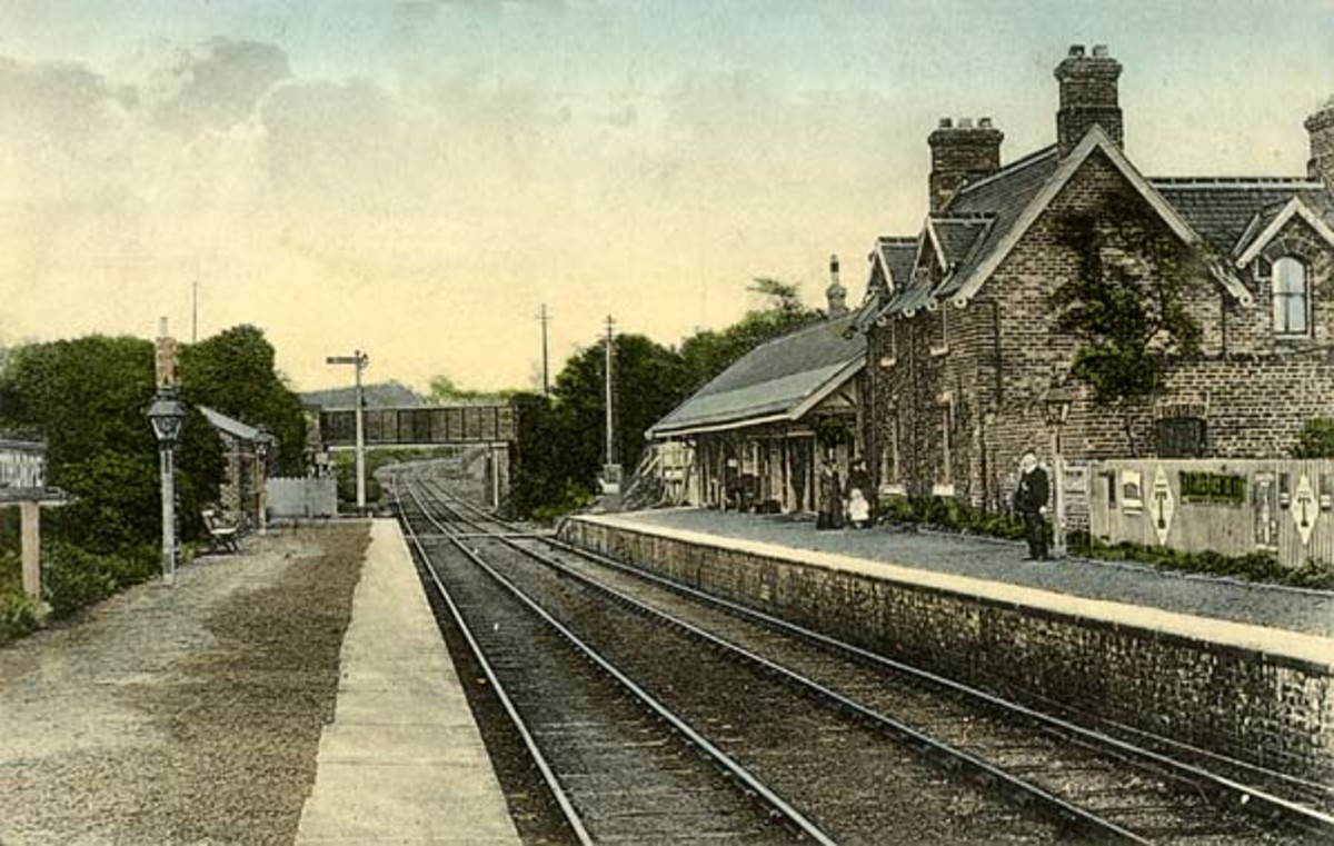 This is Pinchinthorpe Station in 1908 looking east towards Hutton Gate and Guisborough