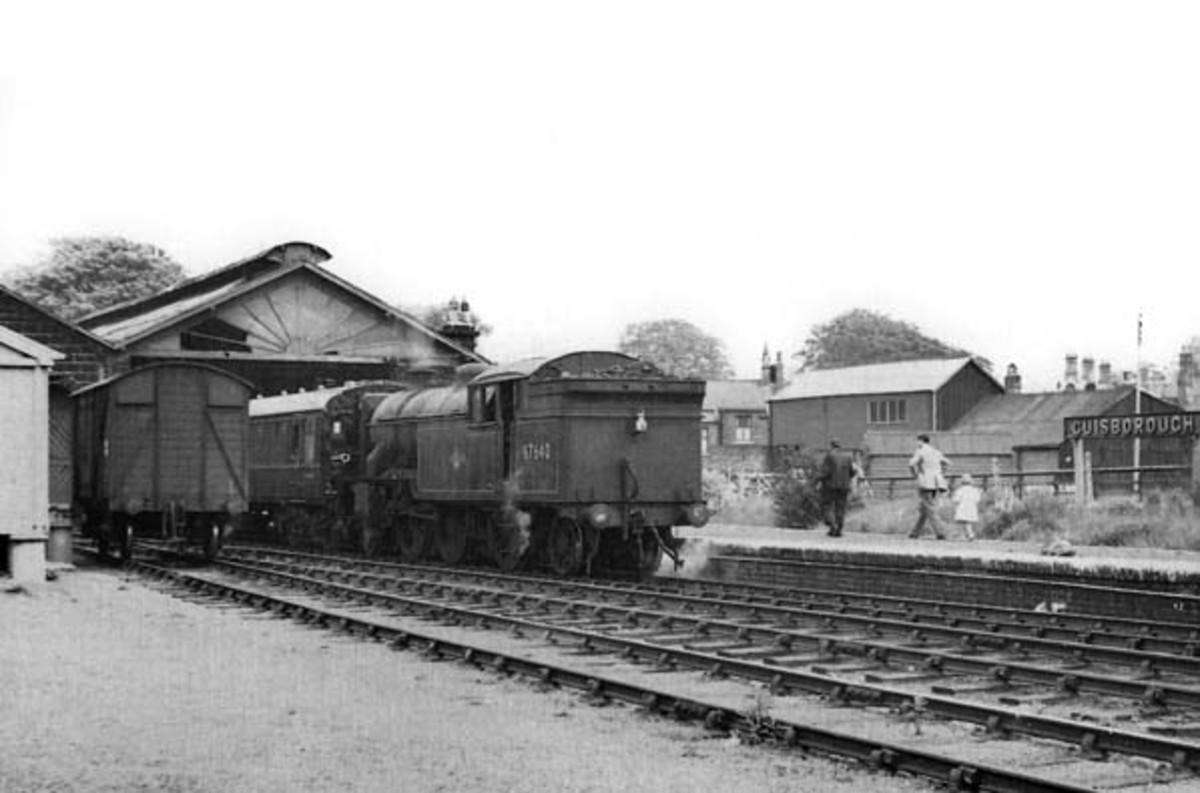 This is Guisborough Station again, in the early 1960s in the last days of steam with Middlesbrough V1 67647