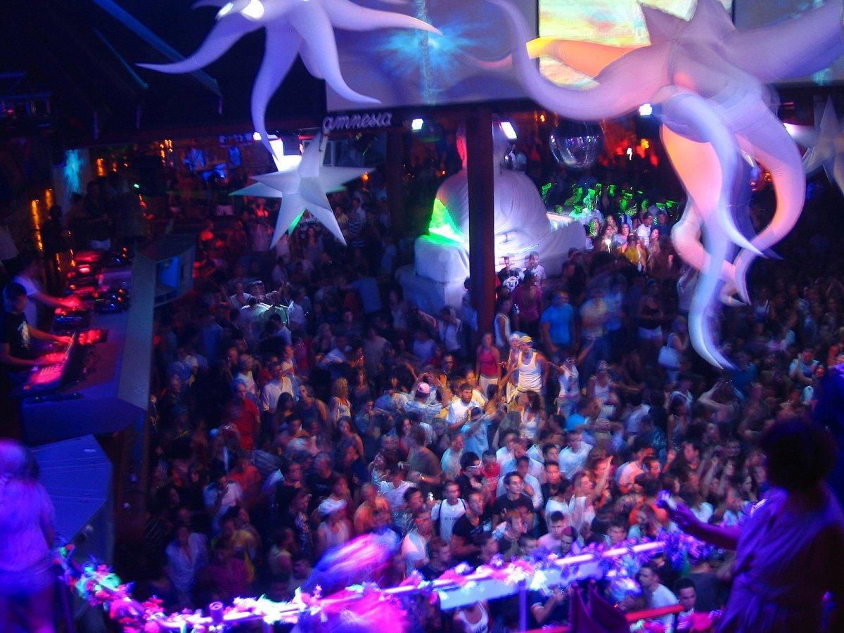 Night clubbing in Ibiza.