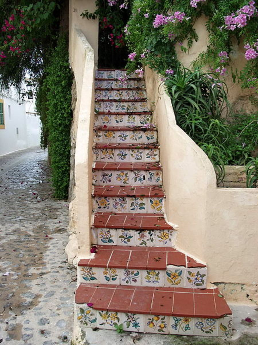 Charming staircase and entrance to a house on the island of Ibiza.