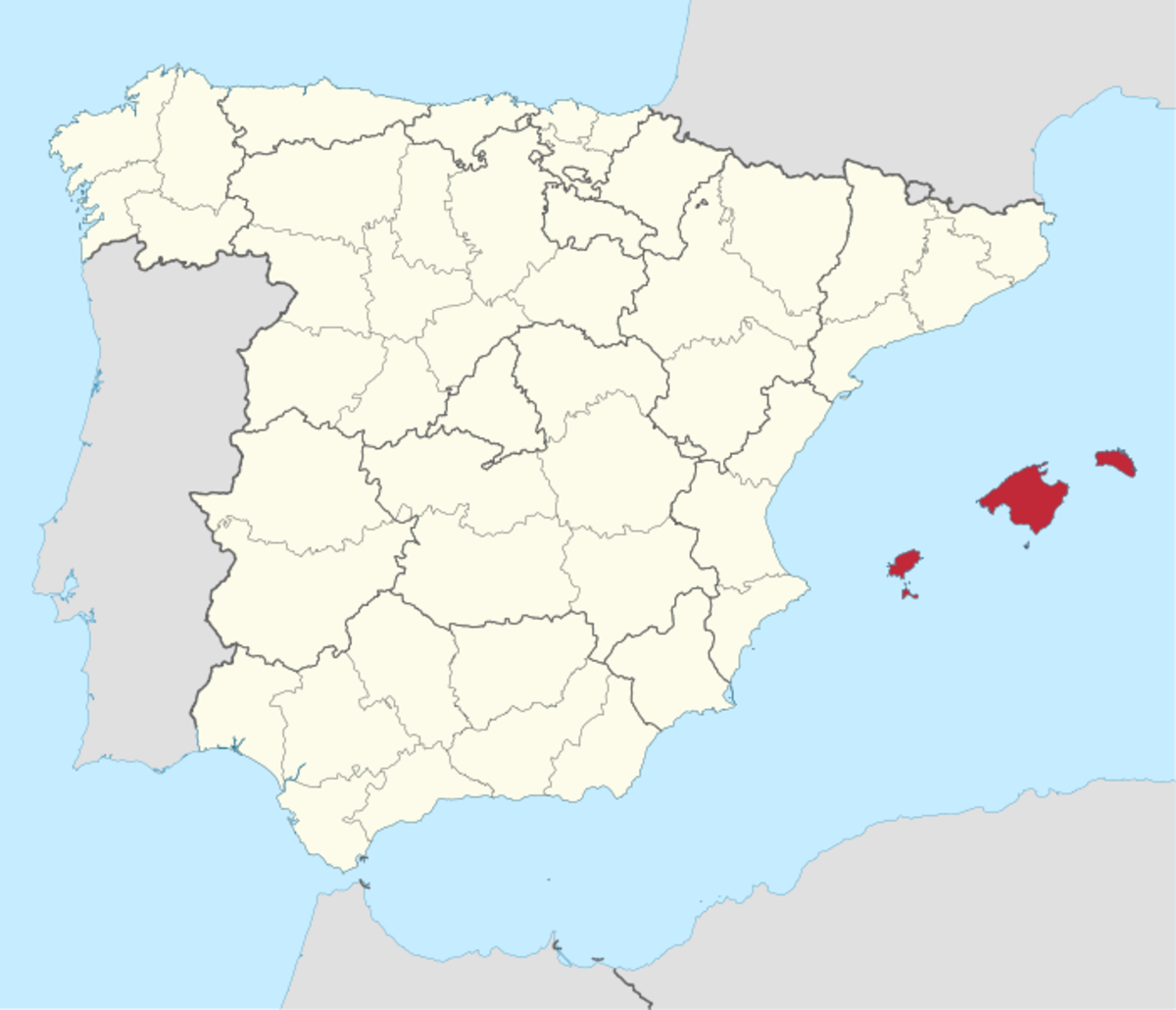 The Balearic Islands of Spain off the eastern coast of the Iberian Peninsula in the western Mediterranean Sea.