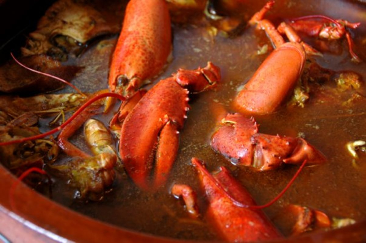 Caldereta, lobster stew, is one of the favorite dishes served on the Balearic Islands.