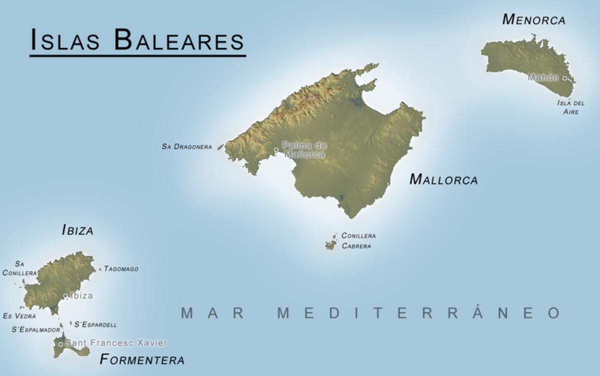 The four main Balearic Islands, Mallorca, Menorca. Ibiza, and Formentera
