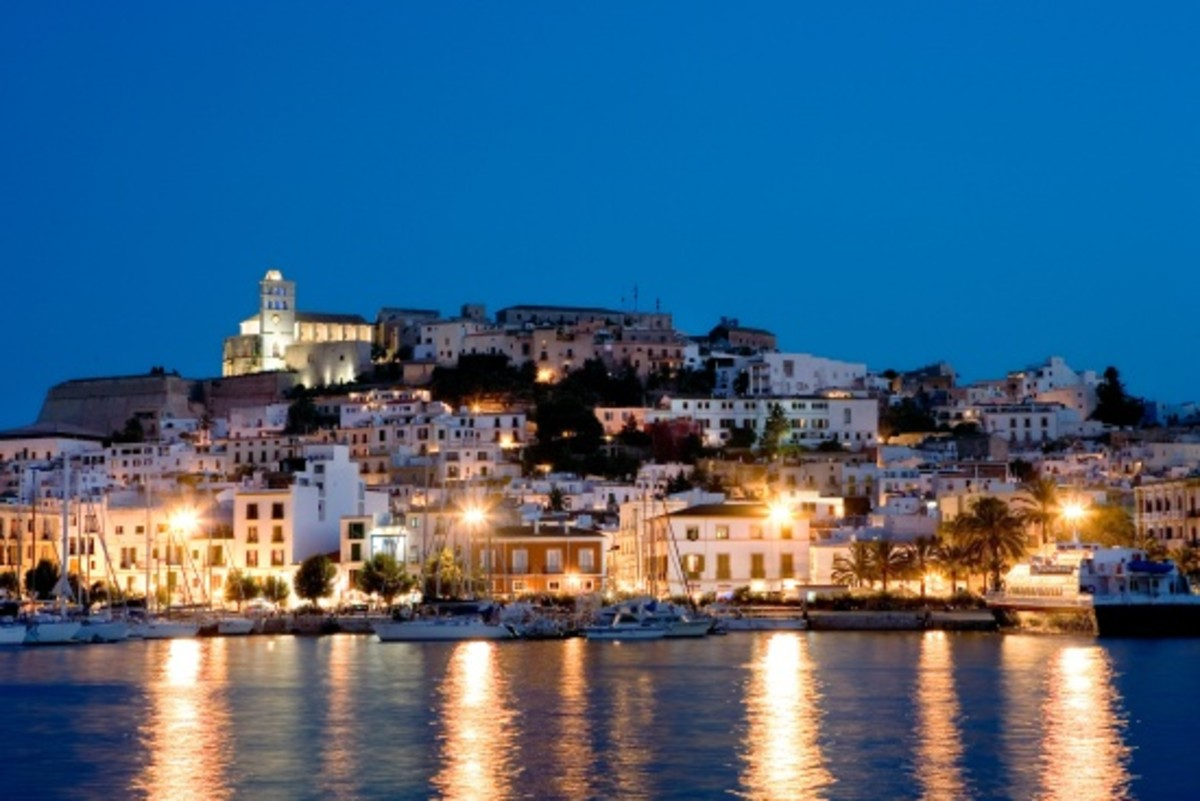 Old Town and Harbour on the island of Ibiza.