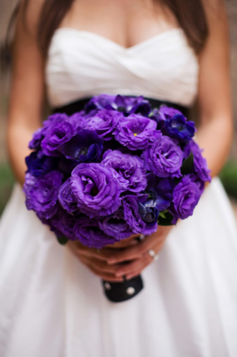 "Bridal bouquet of double purple ""Lizzies"""