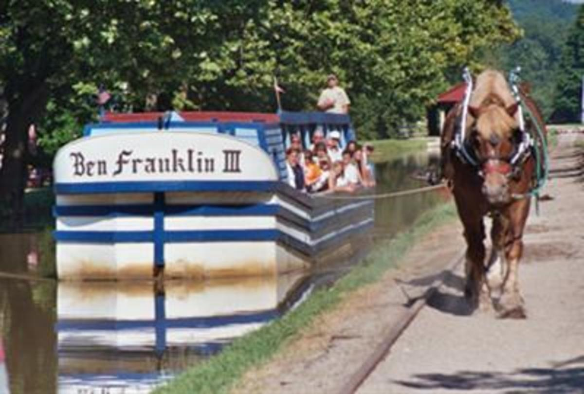 Visitors to Metamora can take a canal boat ride on the Ben Franklin III