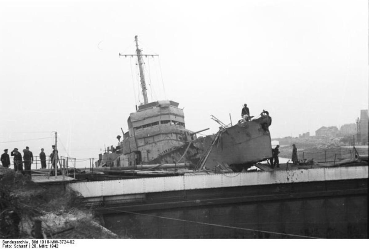 HMS Campbeltown having rammed the dry dock gates
