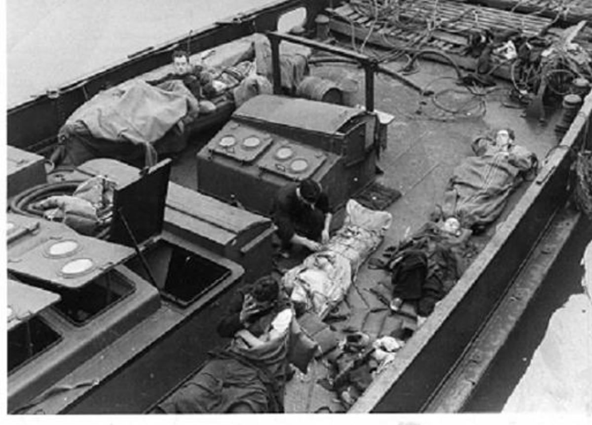 Survivors of ML306 on deck of a German tender