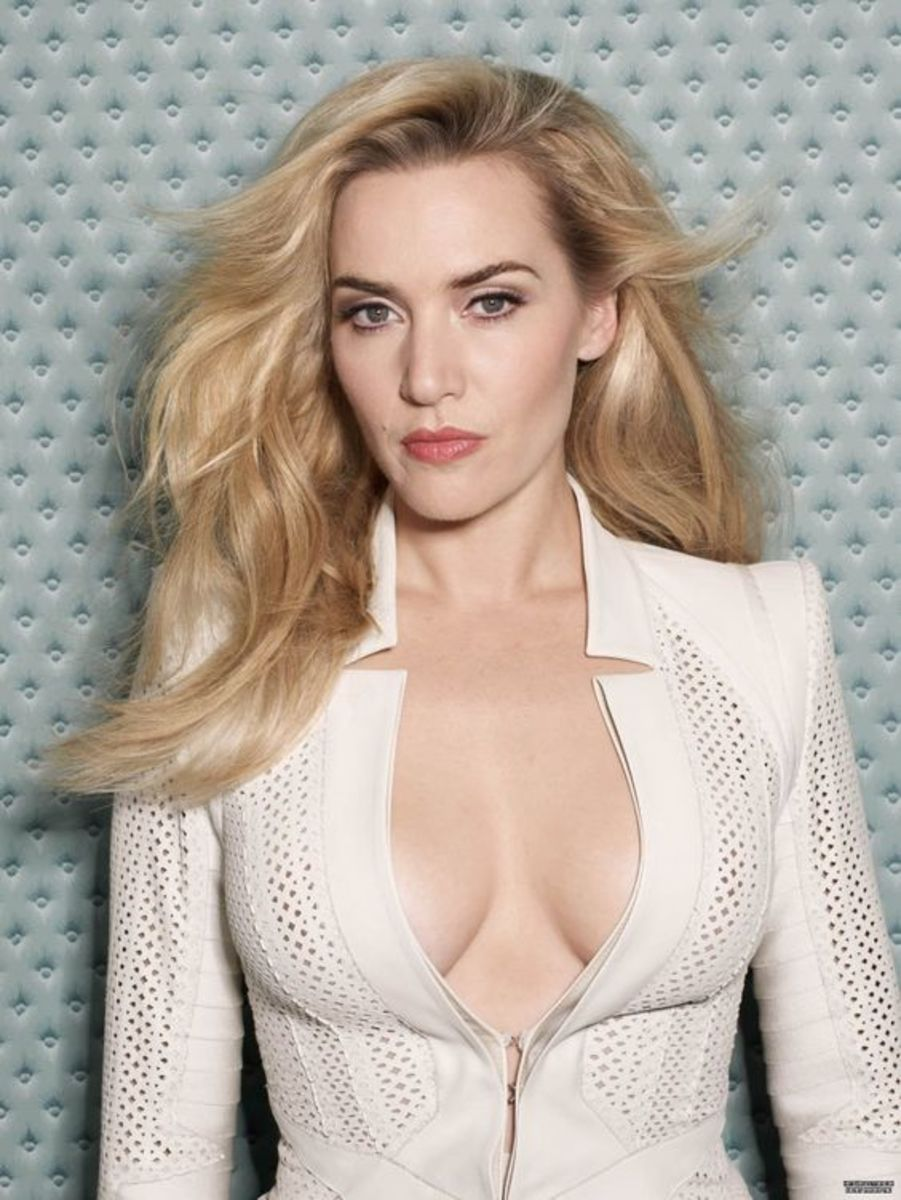 Kate Winslet in a plunging white top for Glamour