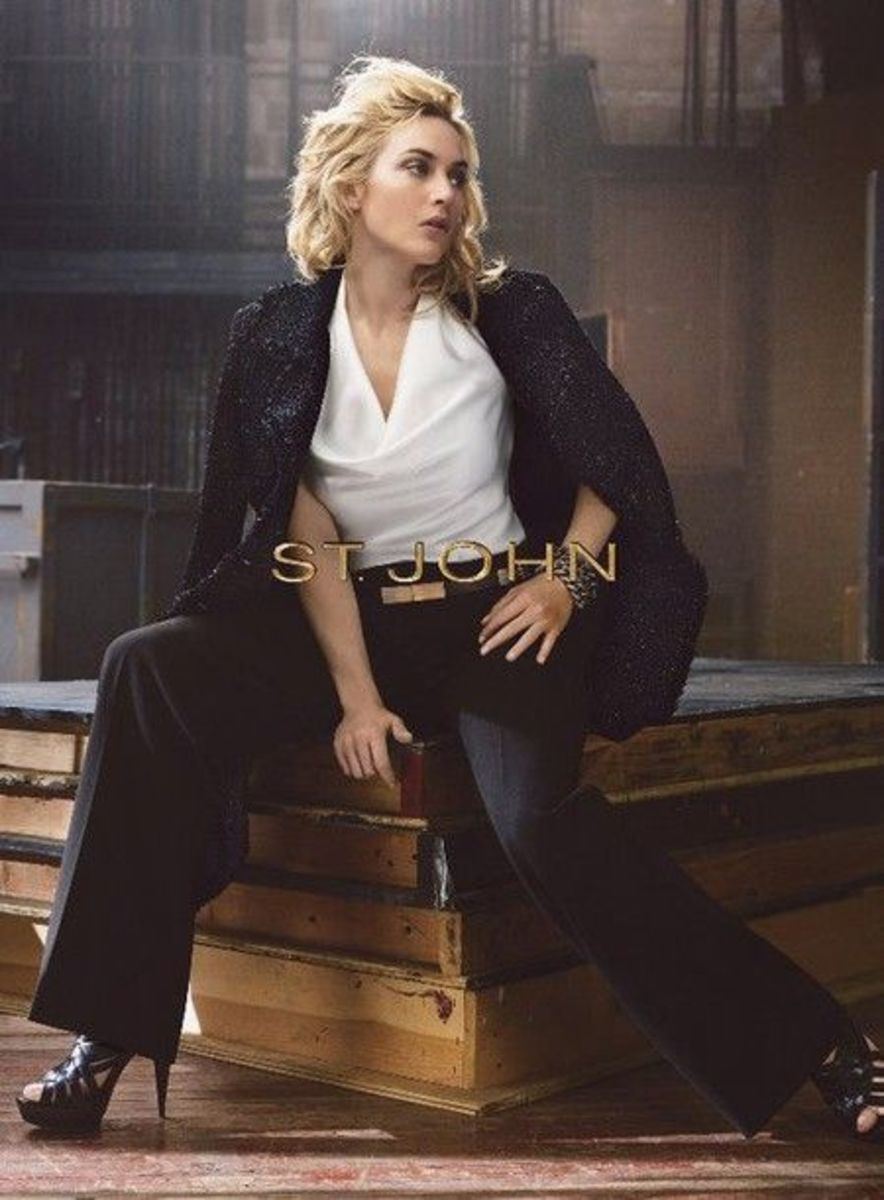 Kate Winslet for St. John's ad in a sexy top, trousers and sky high heels.