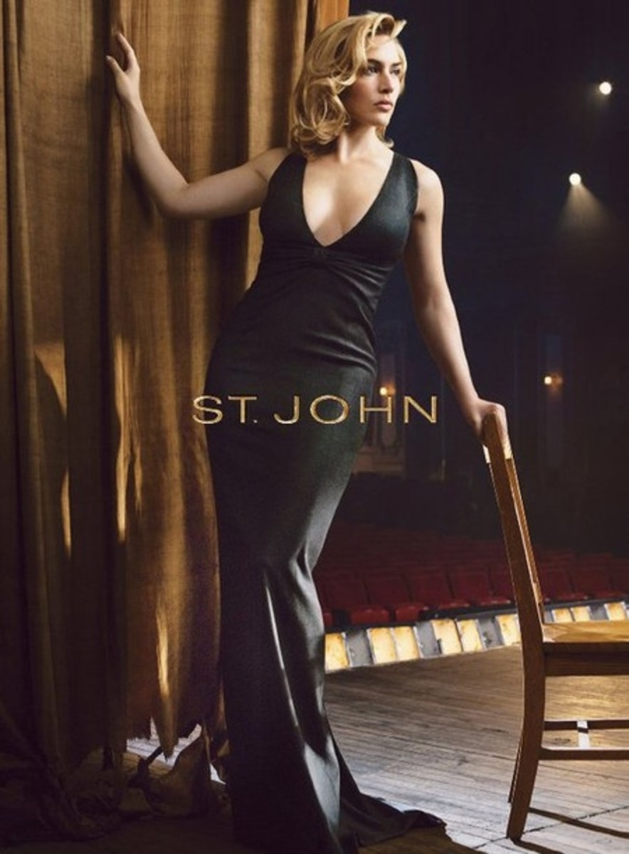 Kate Winslet for St. John's ad in a plunging neckline gown