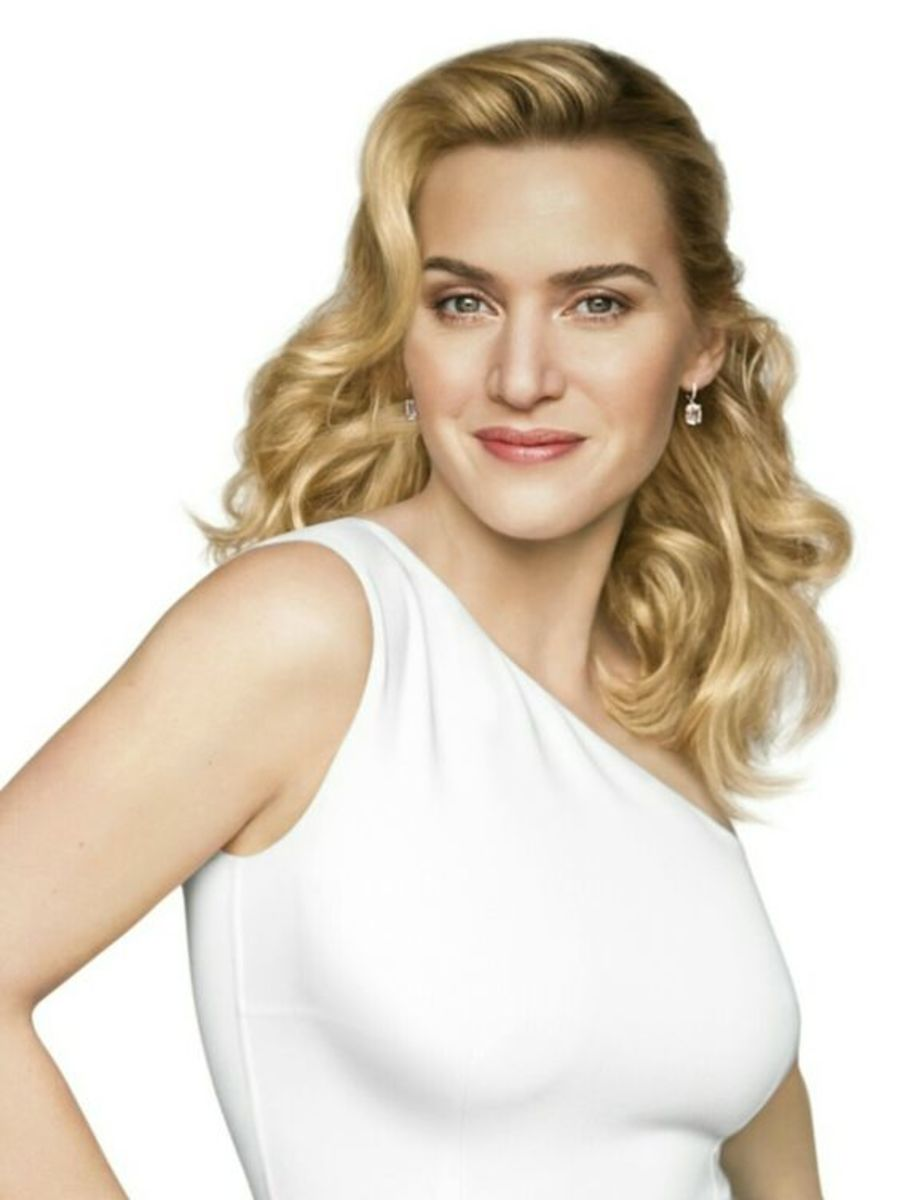 Kate Winslet closeup in a one shoulder white dress