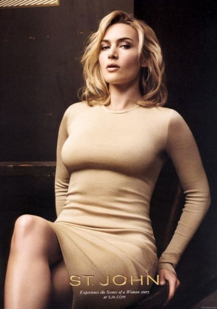 Kate Winslet for St. John's in a figure hugging dress. My favorite photo from the campaign