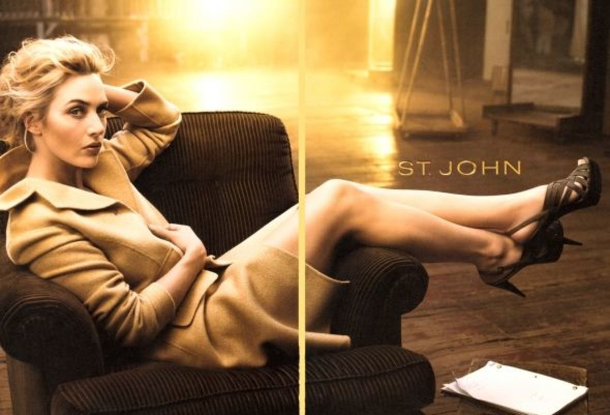 Kate Winslet for St. John's wearing a coat and high heels showing off her sexy legs