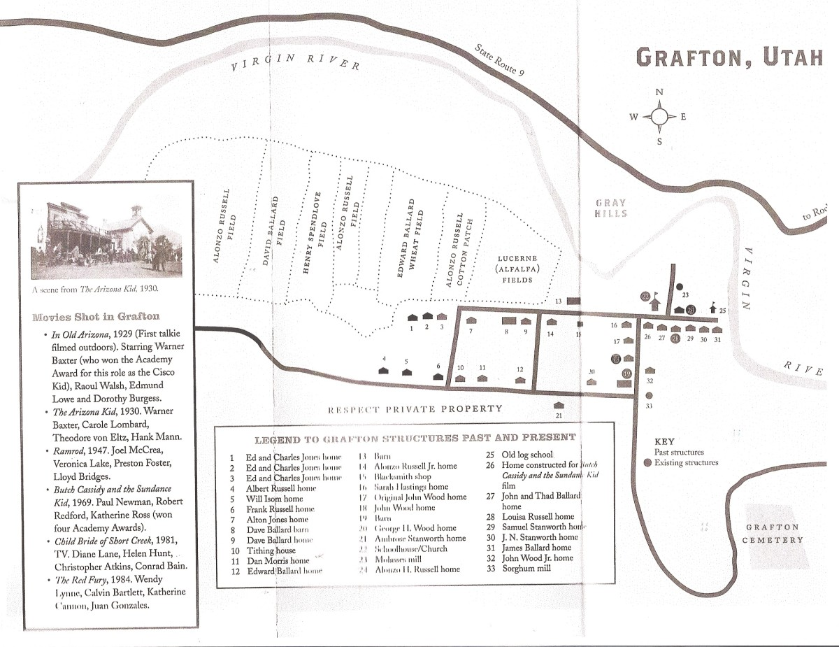Map of the Grafton ghost town and existing buildings, homes.