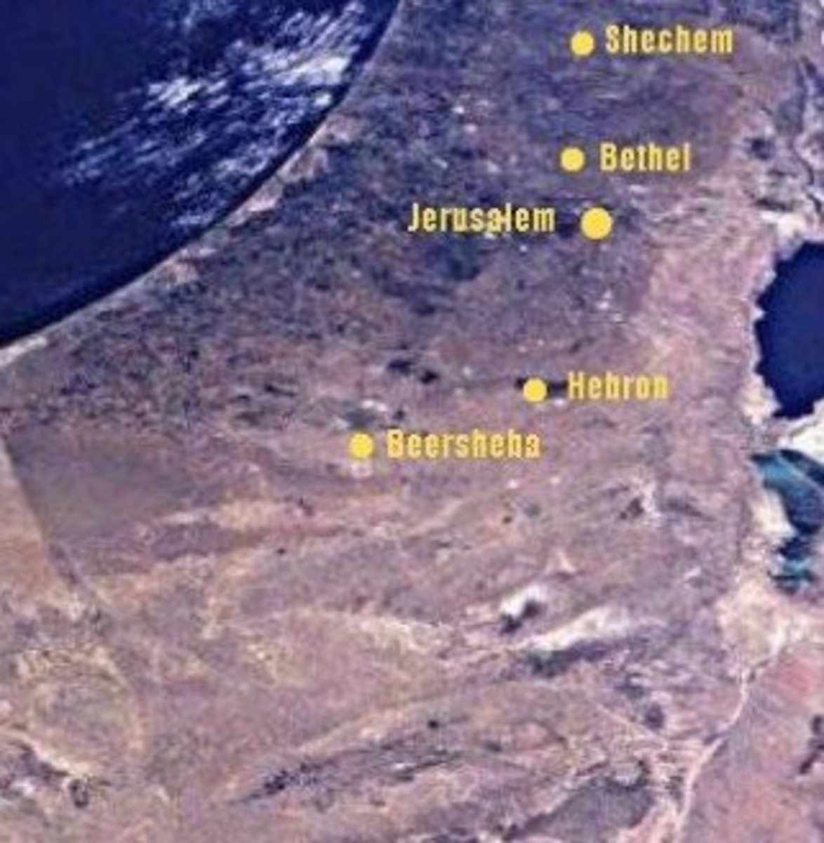The Cities and Pasturelands of Abraham in NASA Satellite Photo of Israel