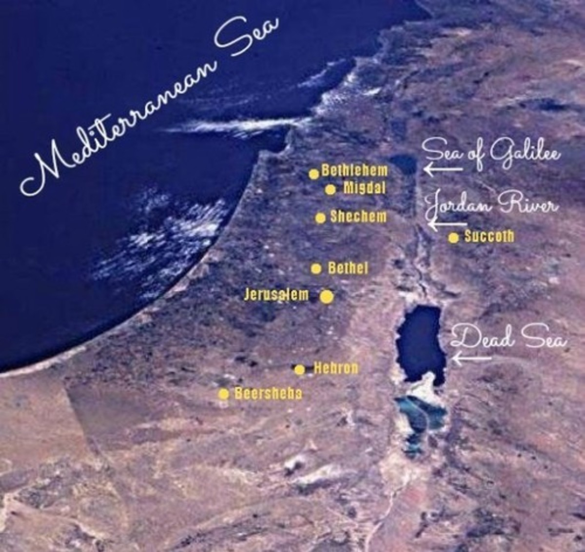 Map of Jacob's Sojourn: Succoth, Shechem, Migdal Eder and Bethlehem of Galilee