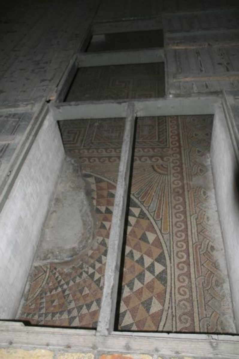 Original Mosaic Floor in Church of the Nativity in Bethlehem, Israel, circa 339 CE