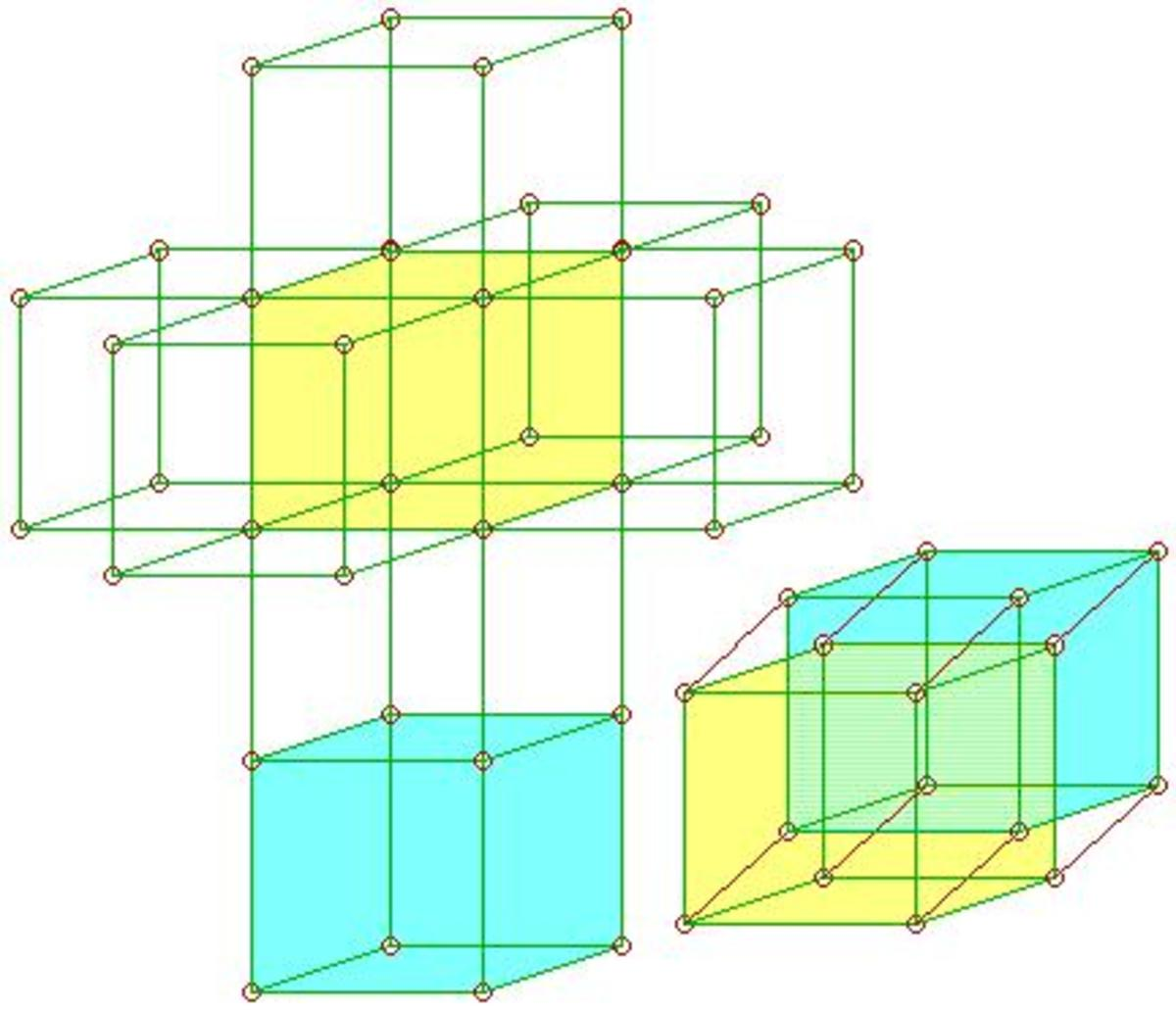 Tesseract: Experimental mathematics, a building, or a portal to spacetime? The structure when unfolded is made of eight cubes.
