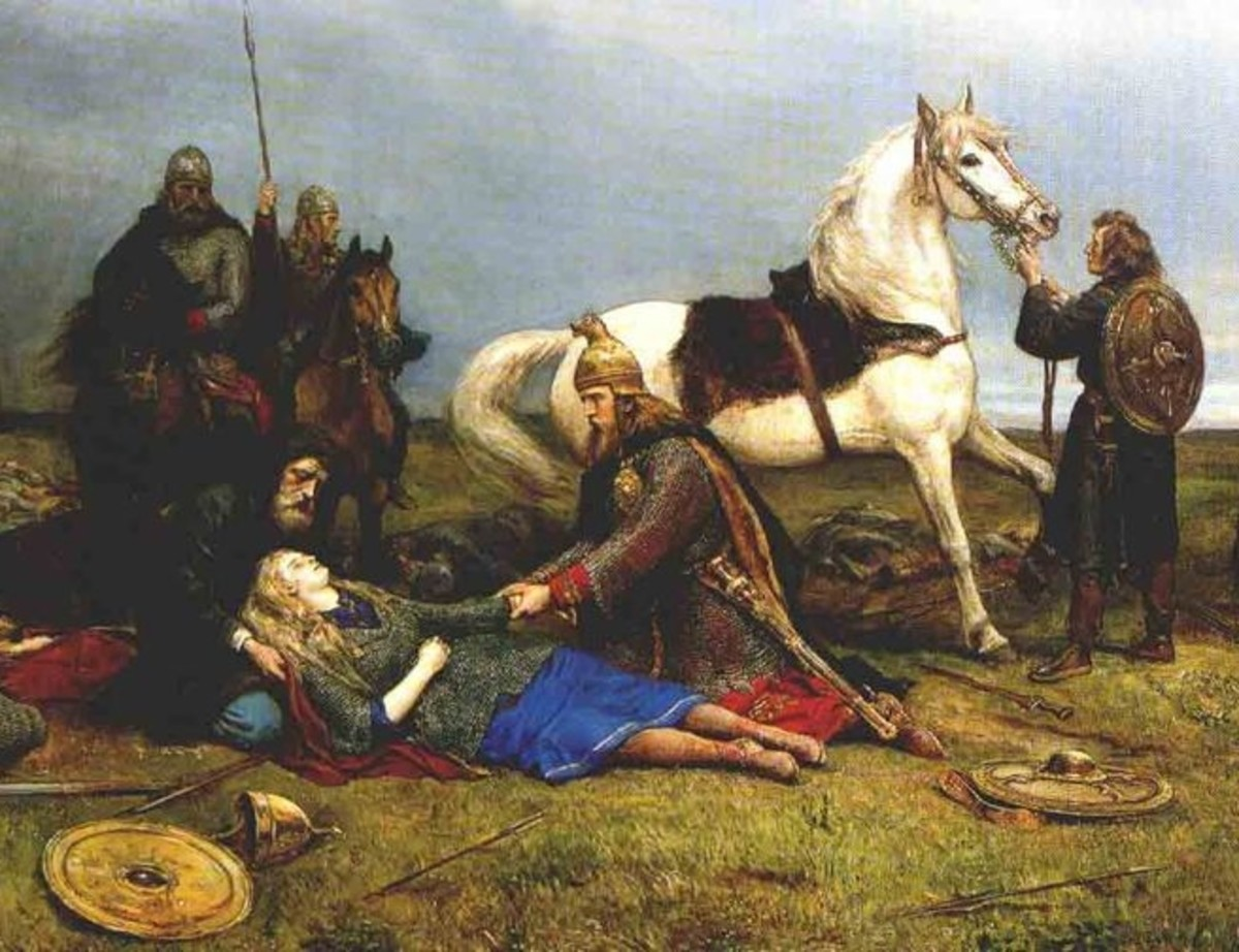 Hervor, a renowned shieldmaiden attested to in the Poetic Edda.  She is shown here dying after a battle.