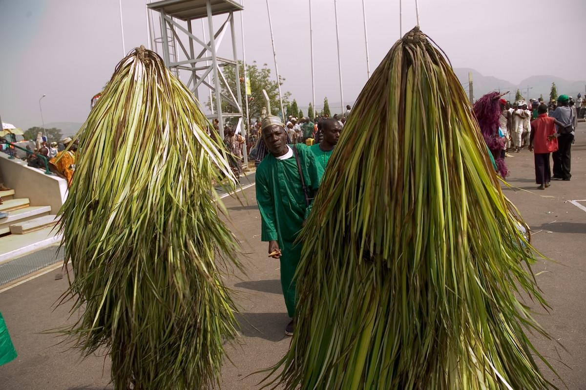 Image of two Raffia masquerades