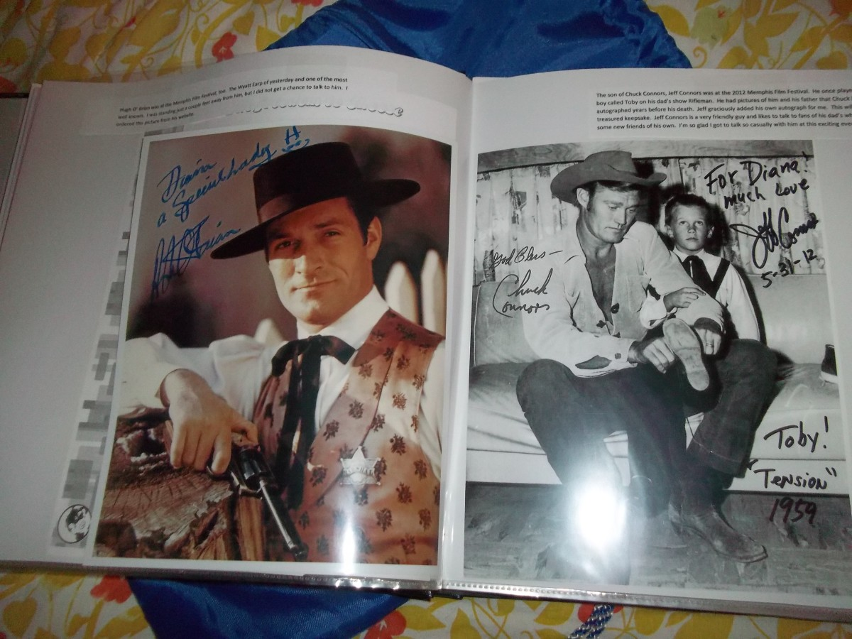 Notice the Chuck Connors signature which Jeff added his own to the picture of him and his dad. What a treasure to have a Chuck Connors original autograph given to me by his son, Jeff. Both Hugh O'Brian and Jeff Connors are now gone. RIP